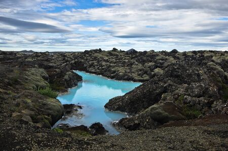 lava field: Blue lagoon geothermal spa is located in a lava field in Grindavk on the Reykjanes Peninsula, southwestern Iceland