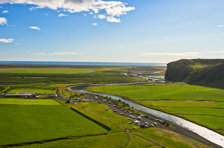 skogafoss waterfall: Aerial view on Skoga river from top of Skogafoss waterfall, highest waterfall in Iceland Stock Photo