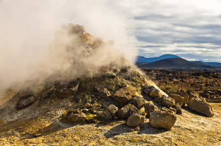 volcanism: Geothermal activity at Namafjall area also called Hverir, east of lake Myvatn, north Iceland