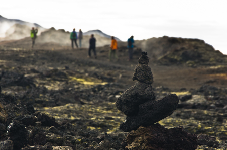 volcanism: Trekking path through Krafla active volcanic area in central Iceland Stock Photo