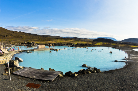 therapy geothermal: Jardbodin natural baths with geothermal spring near lake Myvatn, north Iceland Stock Photo