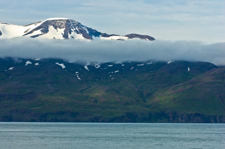 north ridge: North coast of Iceland on the shores of Skjalfandi Shaky bay above Mid-Atlantic Ridge where american and european tectonic plates merge Stock Photo
