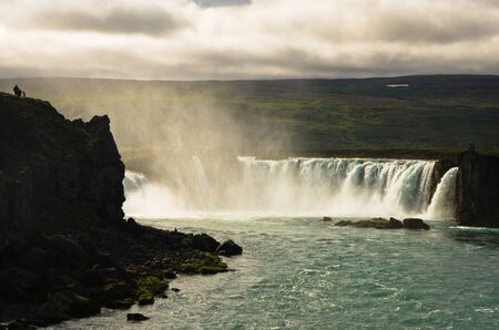water power: Godafoss waterfall or waterfall of the gods biggest waterfall in Iceland