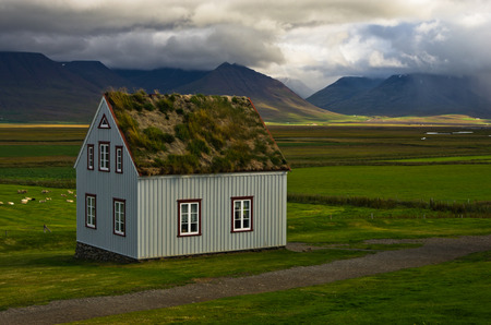 reds: 19th century turf houses at Glaumbaer farm in north Iceland. First church at this location was built in 11th century by Eric the Reds grandson Snorri