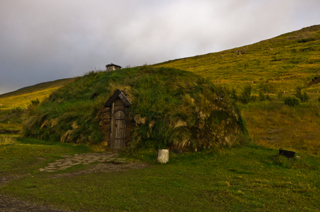 reconstructed: Reconstructed house of famous viking Erik the Red house at Eirikstadir in northwest Iceland