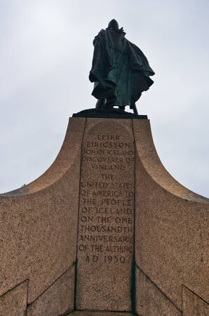 discovered: Monument of viking Leifr Eiricsson who discovered America in 10th century, Reykjavik, Iceland