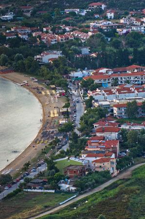 sithonia: Aerial view of a beach at small greek village Toroni in Sithonia, Greece Stock Photo