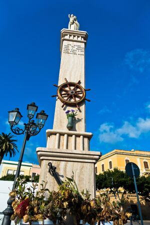 pietro: Monument at Carloforte harbor, San Pietro island, Sardinia, Italy