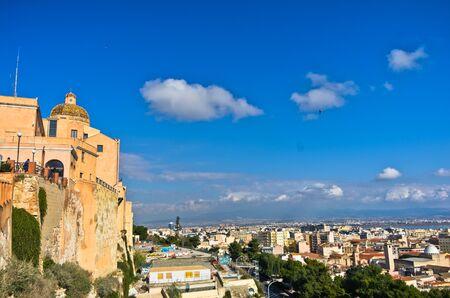 santa maria: Panoramic view of Cagliari from Castello walls and Santa Maria Cathedral, Sardinia, Italy