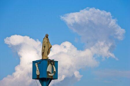 madonna: Statue of Madonna at small sardinian harbor, Sardinia, Italy
