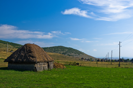 lodge: Rural wooden lodge at Pe�ter plateau landscape in southwest Serbia