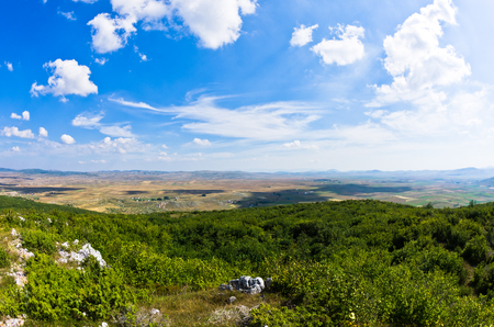 serbia landscape: Panorama of Pešter plateau landscape in southwest Serbia