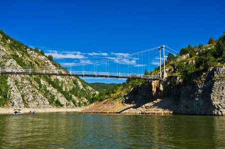 pedestrian bridge: Landscape with pedestrian bridge at river Uvac gorge, southwest Serbia