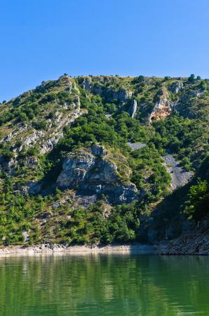 serbia landscape: Rocky landscape of river Uvac gorge at sunny summer morning, southwest Serbia Stock Photo