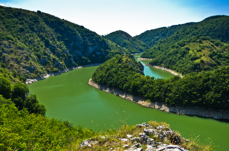 meanders: Meanders at rocky river Uvac gorge on sunny morning, southwest Serbia