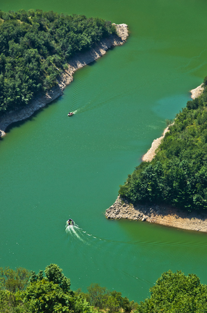 meanders: Detail of meanders at rocky river Uvac gorge on sunny morning, southwest Serbia