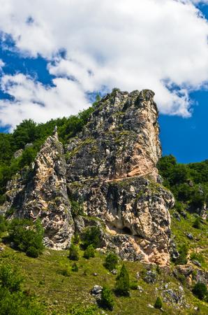 serbia landscape: Landscape around river Uvac gorge at sunny summer morning, southwest Serbia