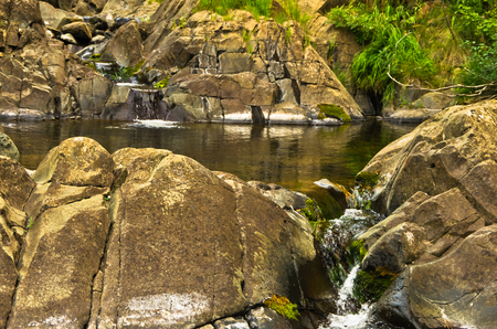 Detail of rocks in water at Black river gorge, west Serbia Stock Photo