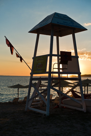 sithonia: Lifeguard watchtower on beach at sunset in Sithonia, Greece