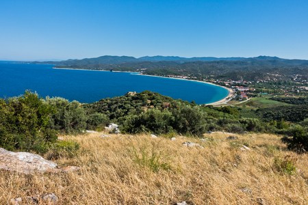 sithonia: Aerial view of a beach and mediterranean coast in Sithonia, Greece Stock Photo