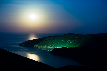 sithonia: Greek mediterranean sea coast under full moon in Macedonia, Greece