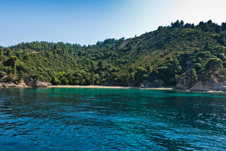 sithonia: Deserted sandy beach with emerald green water at Sithonia, Greece