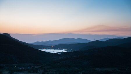 sithonia: Countryside near Porto Koufo harbor at sunset in Sithonia, Greece Stock Photo