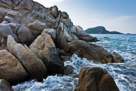 sithonia: Sea rocks at early morning, west coast of peninsula Sithonia, Chalkidiki, Greece