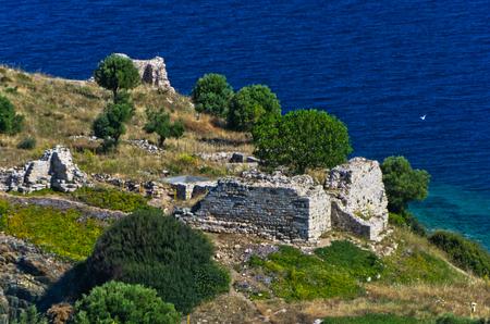 sithonia: Aerial view at ruins of old roman fortress, Toroni, Sithonia, Greece Stock Photo