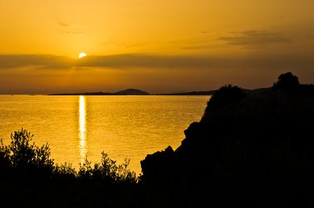 sithonia: Sea coast and landscape of Sithonia west coast at sunset, Greece
