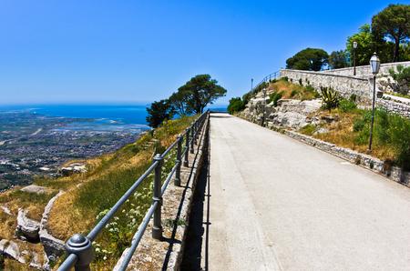 egadi: Promenade and viewpoint at famous Egadi islands, Erice, Sicily, Italy