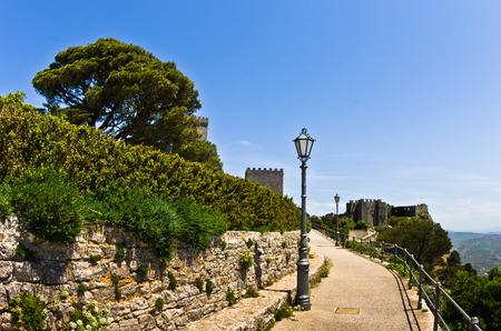erice: Promenade and castle of Venus at Erice, Sicily, Italy Editorial
