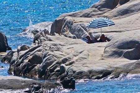 sithonia: Rocky coast near near Orange beach in Sithonia, Greece