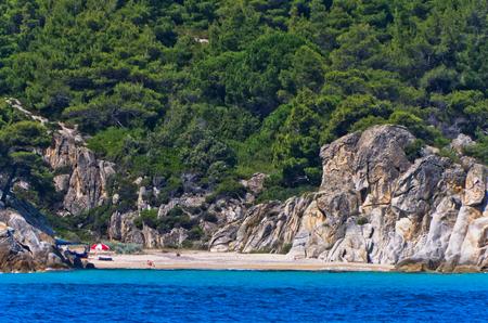 Deserted sandy beach on east coast of Sithonia, Greece Stock Photo