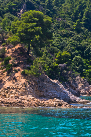 sithonia: Rocky coast with emerald green water in Sithonia, Greece
