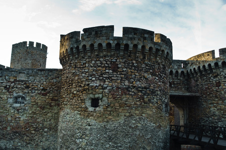 Bridge and towers of Singidunum or Kalemegdan fortress, Belgrade, Serbia Editorial