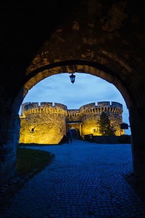 Bridge and towers of Kalemegdan fortress at twilight, Belgrade, Serbia Editorial