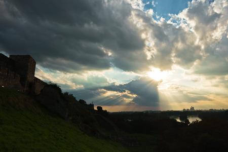 confluence: Cloudscape over confluence of Sava and Danube river in Belgrade, Serbia