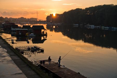 Autumn sunset at Ada lake in Belgrade, Serbia