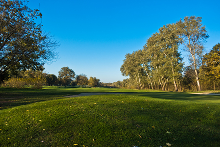 Detail from a golf course at autumn sunny day in Belgrade, Serbia