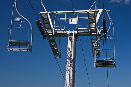 Closeup of a ropeway at Divcibare mountain, west Serbia Stock Photo