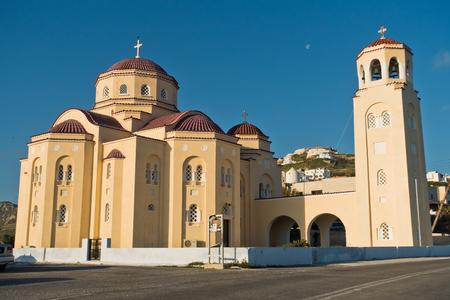 Church in a mountain village at Santorini island, Greece