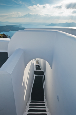 Architectural details from Oia village at Santorini island, Greece
