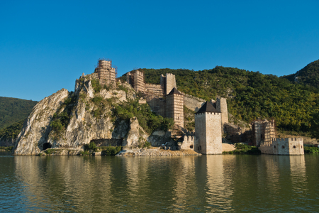 Golubac fortress view from a ship at Danube river in Serbia Editorial
