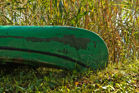 Green canoe boat on a sunny morning at protected natural swamp area of Carska bara, large natural habitat for birds and other animals in north Serbia