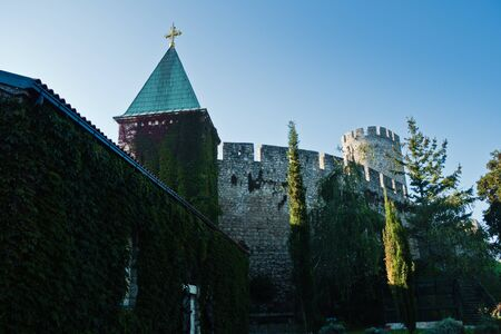 Kalemegdan fortress with a church inside fortress walls at early morning in Belgrade, Serbia Stock Photo