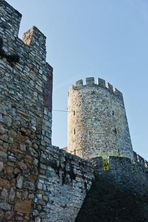 Kalemegdan fortress walls and towers from below  at sunny morning in Belgrade, Serbia