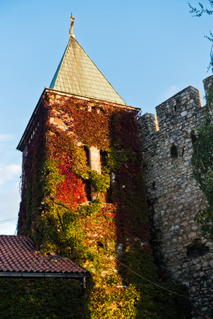 Bell tower of a church covered with colorful leaves at autumn sunset, Kalemegdan fortress in Belgrade, Serbia