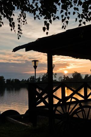 Summer sunset at Tisa river in Novi Becej, Serbia
