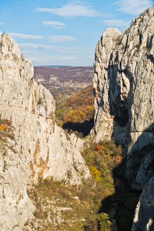 Play of light and shadows at sunset on rocks of Nisevacka gorge in east Serbia
